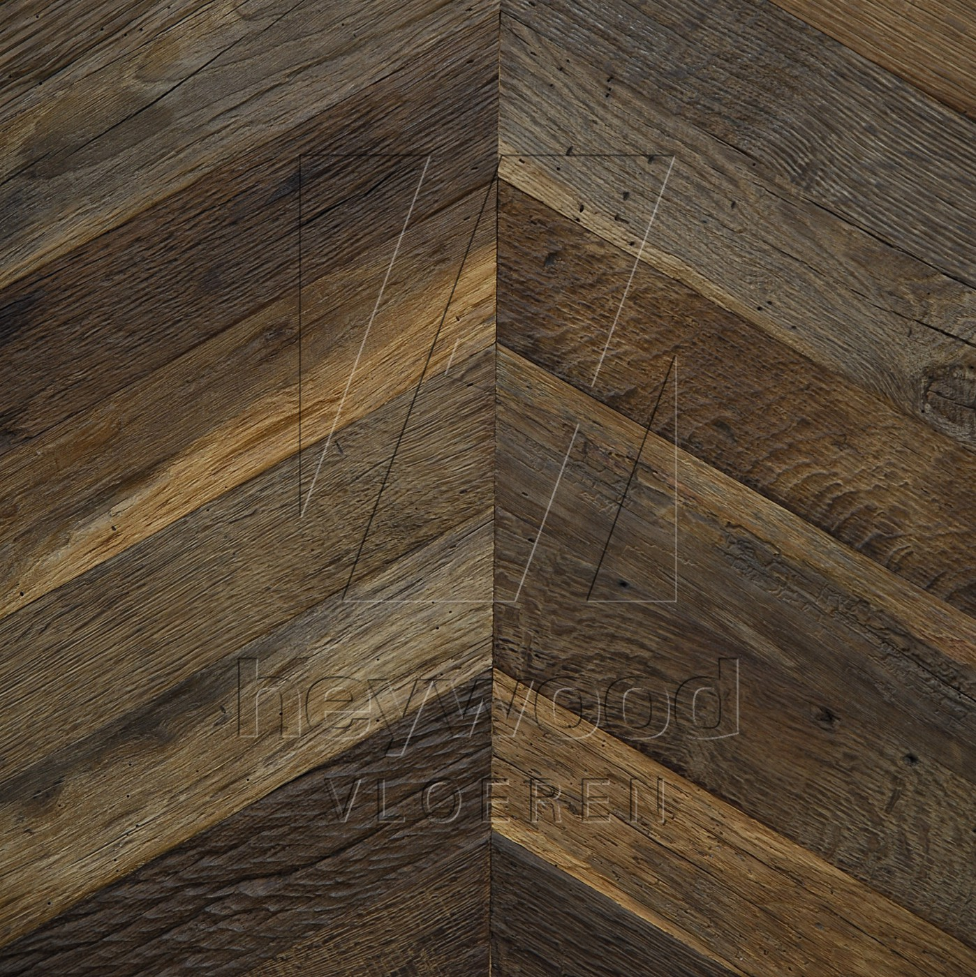Cotswolds Chevron (200 years old Reclaimed Oak, Outside) in Pattern & Panels (Outsides / Insides) of Old Reclaimed Wood