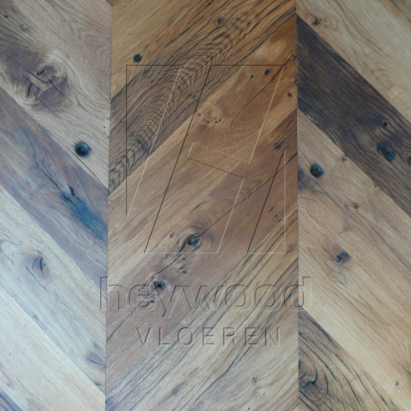 Stellenbosch (unoiled) Reclaimed Oak in Chevron of Pattern & Panel Floors
