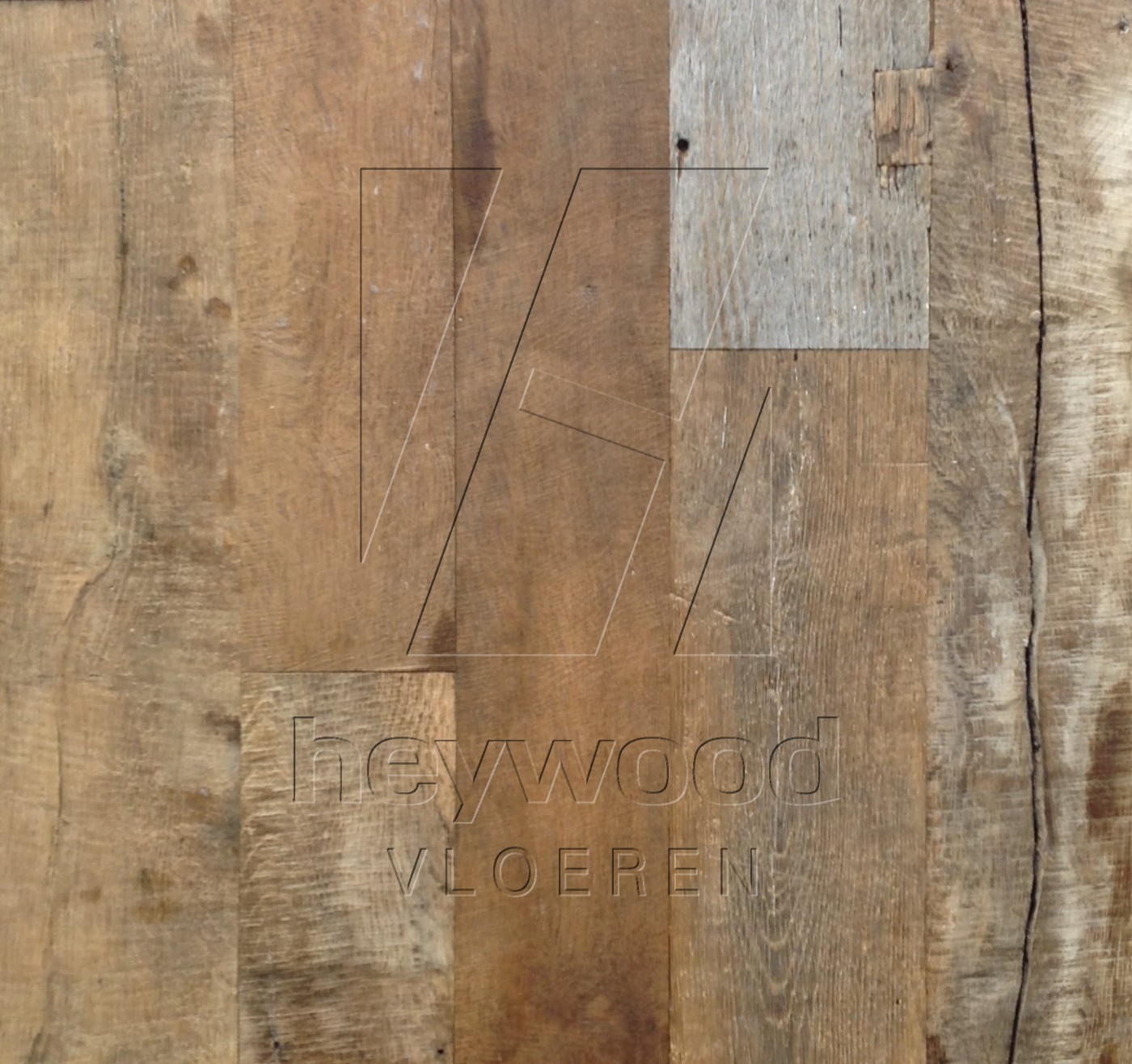 Cotswolds Plank (mixed widths, 200 years old Oak, Outside) in Plank OUTSIDES (authentic textured patina surface) of Old Reclaimed Wood
