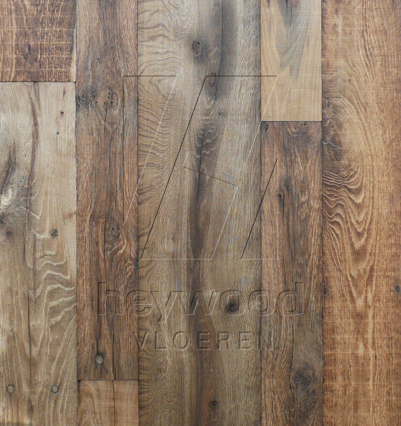 'Old Brewery' Reclaimed Oak (mixed widths, 80-200 years old, insides, hardwax finished) in Plank INSIDES (Brushed 2nd cut) of Old Reclaimed Wood
