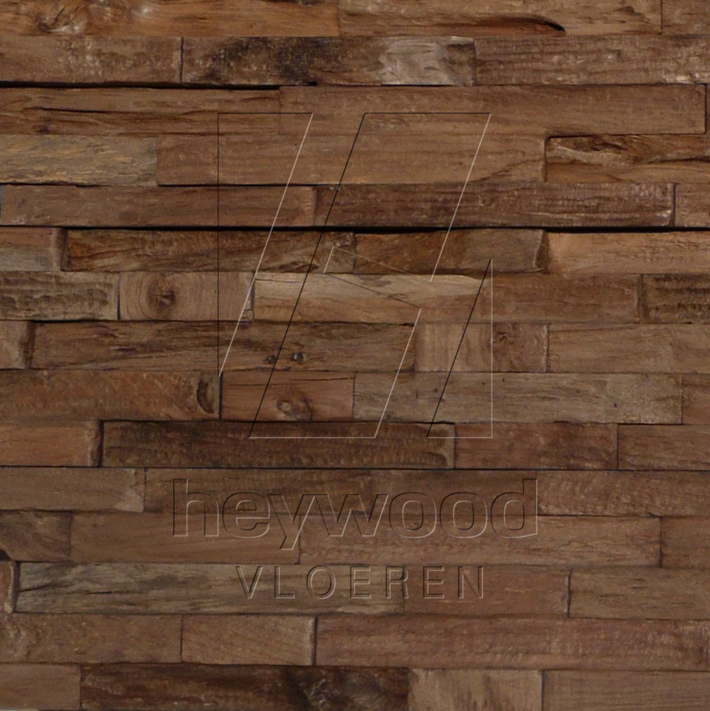 'CHARRED' 3D Teak Wall Panel in Pattern & Panels (Outsides / Insides) of Old Reclaimed Wood
