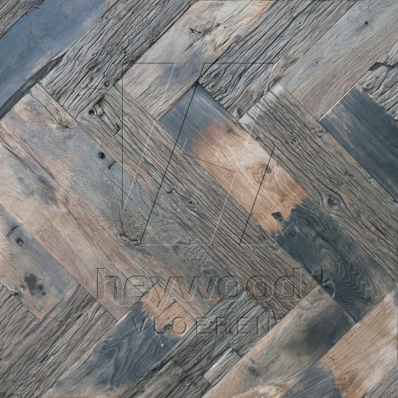 Bordeaux Herringbone 120x600mm in Pattern & Panels (Outsides / Insides) of Old Reclaimed Wood