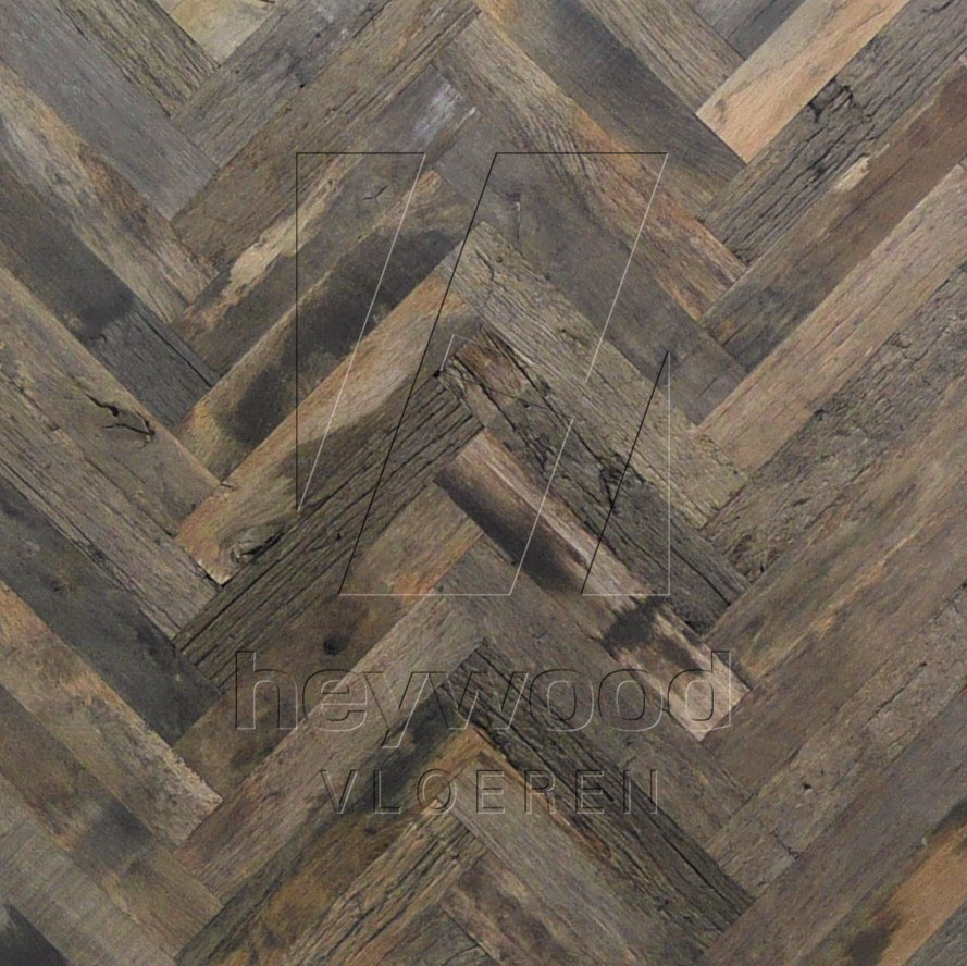 Bordeaux Herringbone 70x350mm (80 years old Reclaimed Oak, outsides) in Pattern & Panels (Outsides / Insides) of Old Reclaimed Wood
