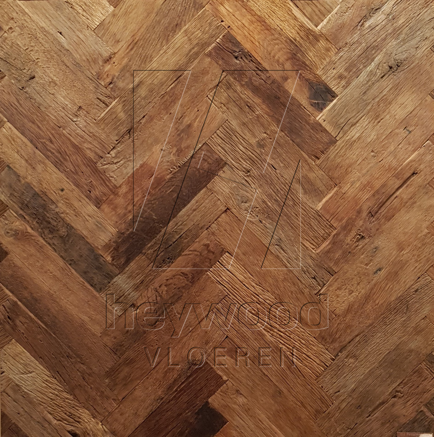 Cotswolds Herringbone 70 x 350mm (200 years old Reclaimed Oak, Outside) in Pattern & Panels (Outsides / Insides) of Old Reclaimed Wood