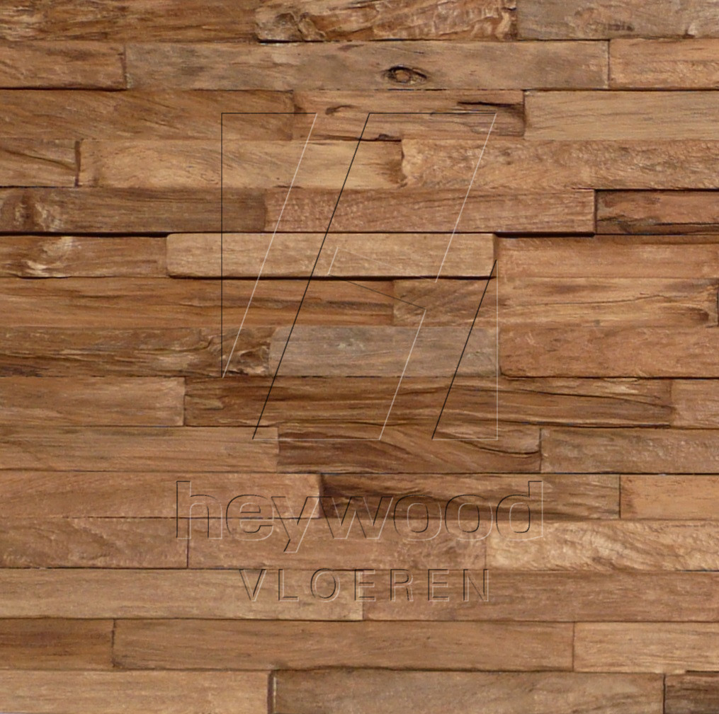'PURE' 3D Teak Wall Panel in Pattern & Panels (Outsides / Insides) of Old Reclaimed Wood