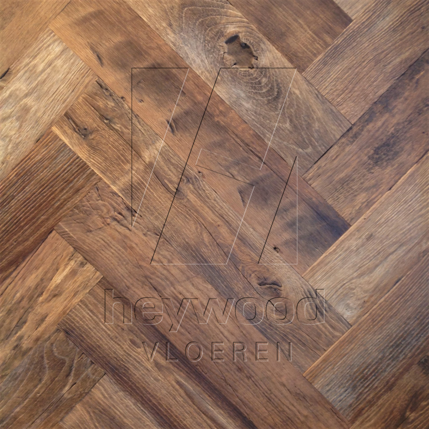 Cotswolds Herringbone 120 x 600mm (200 years old Reclaimed Oak, Outside) in Pattern & Panels (Outsides / Insides) of Old Reclaimed Wood