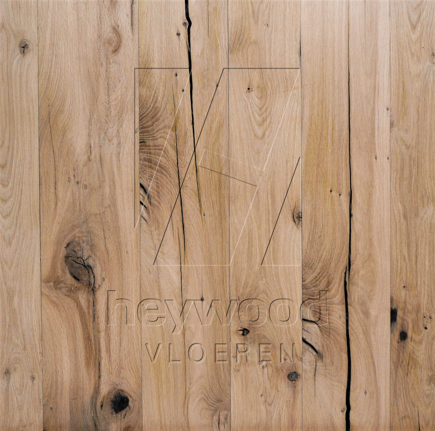 Reclaimed Plank 'Stellenbosch' (mixed width, unoiled) in Plank INSIDES (Brushed 2nd cut) of Old Reclaimed Wood